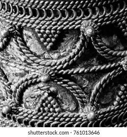 Detail of silver bracelet black&white photograph