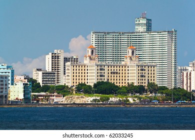 Detail from the skyline of Havana, Cuba with the Hotel Nacional in the front on a clear day