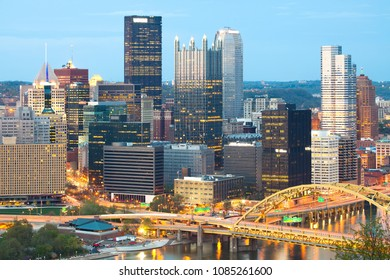 Detail of skyscrapers at Central Business District, downtown, Pittsburgh, Pennsylvania, USA