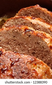 Detail of slices of roasted minced meat