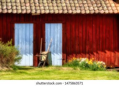 Detail of a Small Barn and an Old Wheelbarrow on Southern Koster Island, Sweden