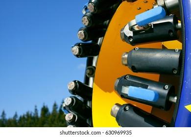 Detail of a snow guns nozzle