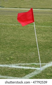 Detail of a soccer field with corner flag