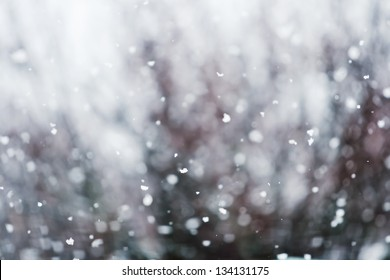 Detail of softly falling snowflakes.