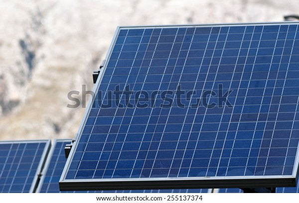 Detail  of solar panels in the Madonie mountains. Sicily