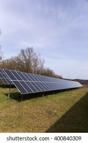 Detail of the Solar Power Station on the spring Meadow