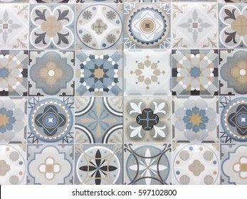 Detail of some typical portuguese tiles, Ceramic tiles patterns