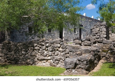 detail of some of the wall inside the Spanish Mission at Goliad