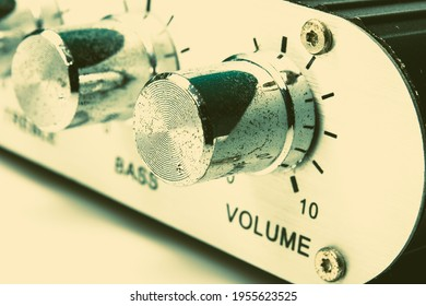 Detail of sound volume controls in vintage style.
