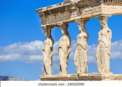 Detail of the south porch of Erechtheion with the Caryatids. Athens, Greece