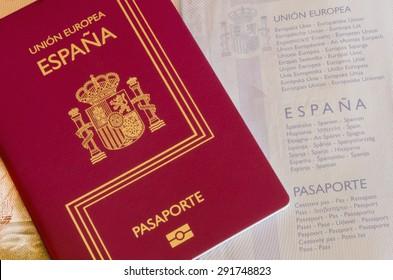 Detail of an spanish passport. Identification documentation for travelers