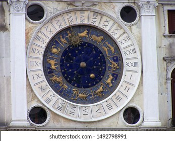 Detail of the St Mark's Clock Tower in Venice, an early Renaissance building on St Mark's Square in Venice, Italy. Around 1490-1500 CE