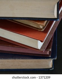 Detail of stacked antique books