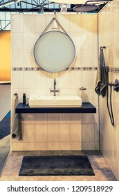 detail of standart bathroom with mirror
