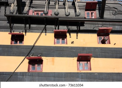 Detail of the starboard side of Lord Nelson's HMS Victory