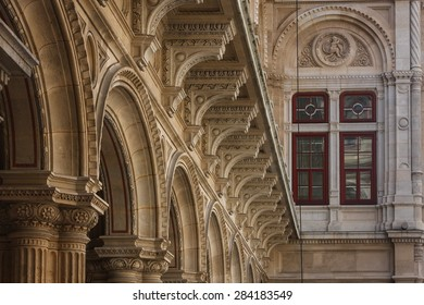 Detail of the State Opera building in Vienna, Austria