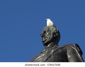 Detail of a statue of Major-General Sir Henry Havelock with a bird over the head in Trafalgar Square, London, England.