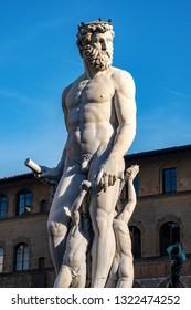 Detail of the statue of Neptune, Roman God, fountain (Bartolomeo Ammannati 1560-1565) in Florence, Italy, Europe