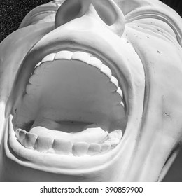 detail of a statue with open mouth screaming