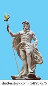 Detail of the statue of Poseidonon on isolated blue background at venezia hua hin Thailand