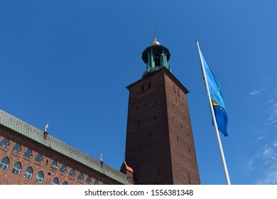 Detail of the Stockholm City Hall (Stockholms stadshus), Stockholm, Sweden - 27 Jun 2018:  It is the building of the Municipal Council for the City of Stockholm in Sweden.