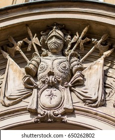 Detail of an stone amblem Stone emblem on a header of an old historical building in Branimirova street in Zagreb