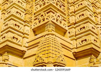 Detail of the stone carvings on the dome of Adeshwar Nath Jain temple, Amar Sagar, Jaisalmer, Rajasthan, India