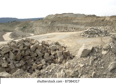 detail of a stone pit in Southern Germany at summer time