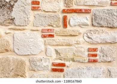 Detail of a stone wall on a church in Greece, Europe