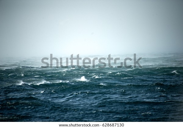Detail of the stormy sea on a windy day