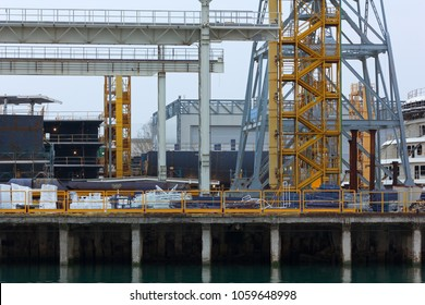 Detail of the structures and buildings of a shipyard