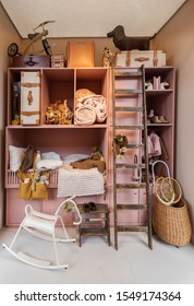 detail of stylish children room with storage wall