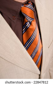 Detail of a suit and a tie close up