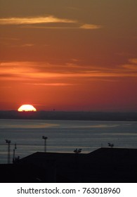 Detail of a Sunrise viewed from a view point in Almada, Lisbon, Portugal