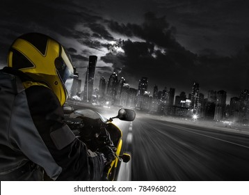 Detail Of Super Sport Motorbike Rider Heading To The Modern City. Concept  Of Speed