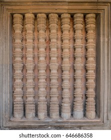 Detail of t bars of a window at Angkor Wat, Siem Reap, Cambodia.
