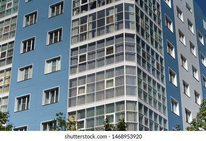Detail of the tall blue apartment building in Petropavlovsk-Kamchatsky (capital of Kamchatka Region) in Russian Far East. New building outstanding from old soviet architecture.