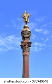 Detail of tall monument dedicated to Christopher Columbus in Barcelona, Catalonia, Spain