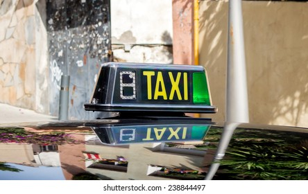 detail of a taxi cab in a Barcelona street