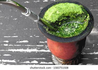 Detail of a chimarrão tea