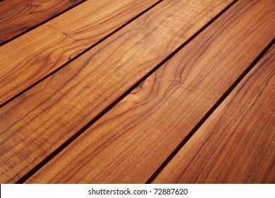 Detail of teak wood table