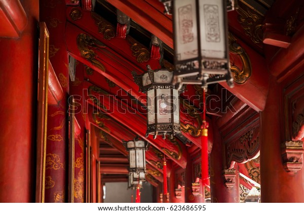 Detail from Temple of literature in Hanoi, Vietnam