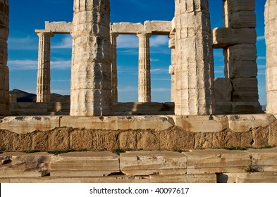 Detail of Temple of Poseidon, Greece