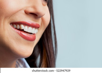 Detail of a toothy smile.