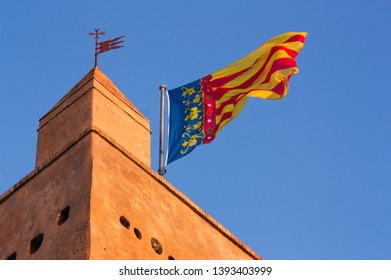 Detail of the top of the tower of Torrent where the flag of the Comunitat Valenciana flies