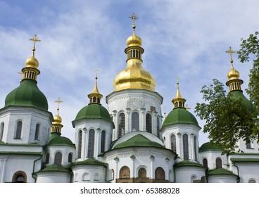 Detail (tops) of soviyiskiy cathedral in Kiev, capital of Ukraine.