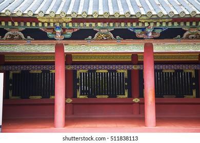 Detail of  Toshogu shrine in Nikko, Japan