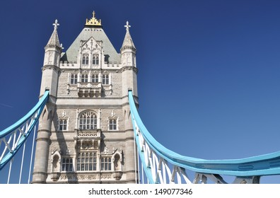 Detail of Tower Bridge over the River Thames, London, UK