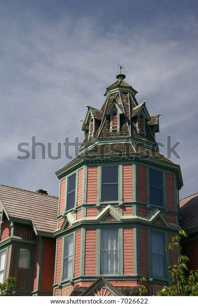 Detail, tower of Old Victorian house, now a bed & Breakfast, 19th century home,Port Townsend,Pacific Northwest, Washington