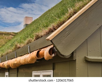 Detail of traditional grass or sod roofed wooden building in Torshavn, Faroe Islands, showing the construction.